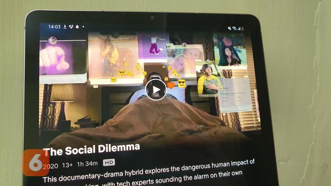 Film dokumenter The Social Dilemma yang menyoroti industri media sosial (Liputan6.com/ Agustin Setyo W)