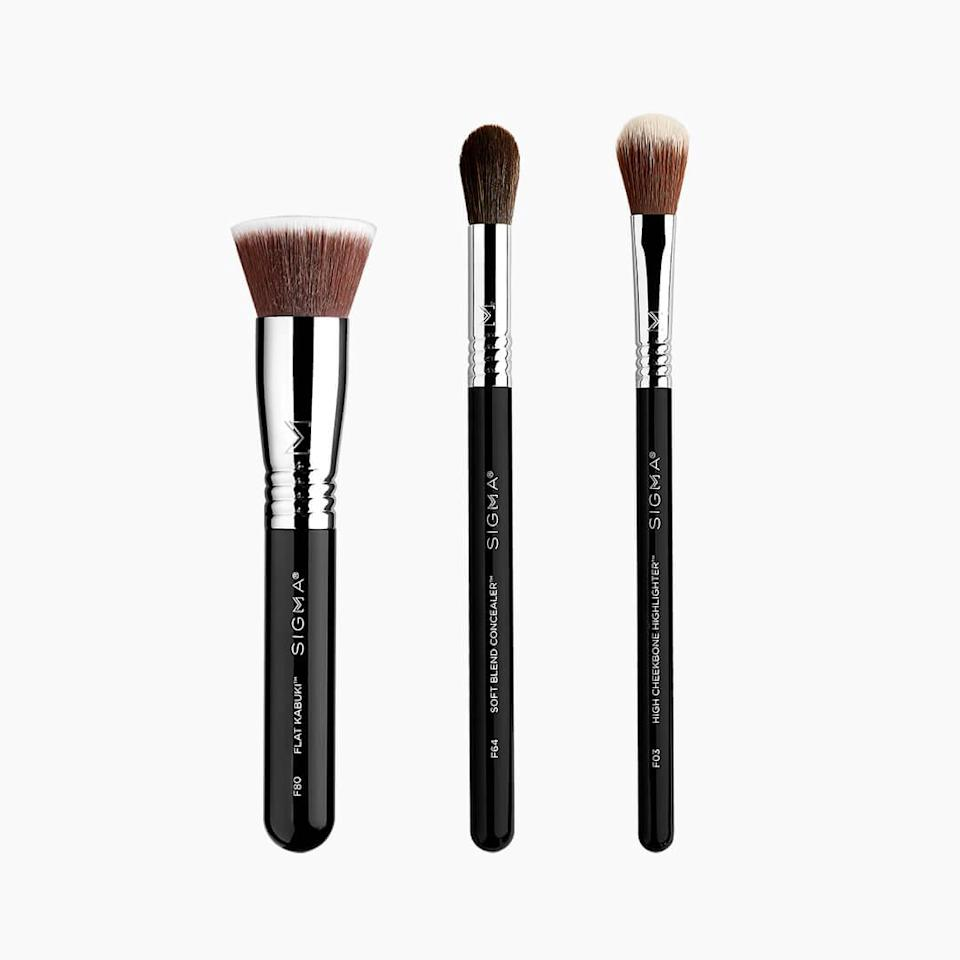 """You gotta love the fact that Sigma bundled three of its <a href=""""https://www.allure.com/story/best-of-beauty-awards-2020?mbid=synd_yahoo_rss"""" rel=""""nofollow noopener"""" target=""""_blank"""" data-ylk=""""slk:Best of Beauty Awards"""" class=""""link rapid-noclick-resp"""">Best of Beauty Awards</a> makeup brushes, which each snagged seals on their own, into one aptly-named Best of Beauty Brush Set. The three-piece kit includes the 2016-winning F80 Flat Kabuki; F03 High Cheekbone Highlighter brush, which won in 2018; and the F64 Soft Blend Concealer — a 2019 winner. Additionally, all Sigma brush sets are 30 percent off for Amazon Prime Day 2021. $54, Amazon. <a href=""""https://www.amazon.com/Sigma-Beauty-Best-Brush-Set/dp/B0849NFS4J?"""" rel=""""nofollow noopener"""" target=""""_blank"""" data-ylk=""""slk:Get it now!"""" class=""""link rapid-noclick-resp"""">Get it now!</a>"""