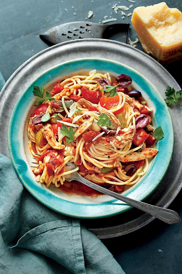 """<p><strong>Recipe: <a href=""""https://www.southernliving.com/syndication/slow-cooker-chicken-cacciatore-spaghetti"""">Slow-Cooker Chicken Cacciatore with Spaghetti</a></strong></p> <p>We'll take any excuse to use our slow cooker. Bursting with flavor from chunky fire-roasted tomatoes, olives, and mushrooms, this sneakily easy dish makes anyone look like a professional. </p>"""
