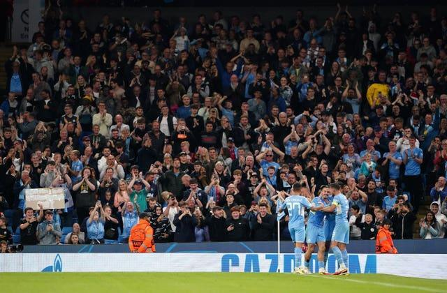 A crowd of 38,062 watched City's 6-3 victory over Leipzig