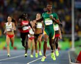 <p>Caster Semenya of South Africa leads the field during the Women's 800 meter Final on Day 15 of the Rio 2016 Olympic Games at the Olympic Stadium on August 20, 2016 in Rio de Janeiro, Brazil. (Photo by Ian Walton/Getty Images) </p>