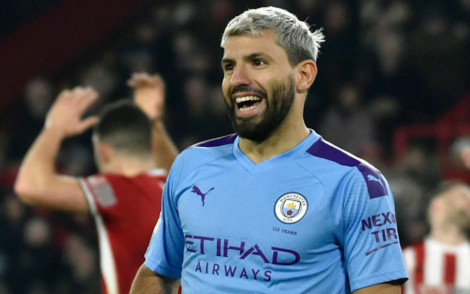 Sergio Aguerosmiles during the Premier League match between Sheffield United and Manchester City at Bramall Lane - AP