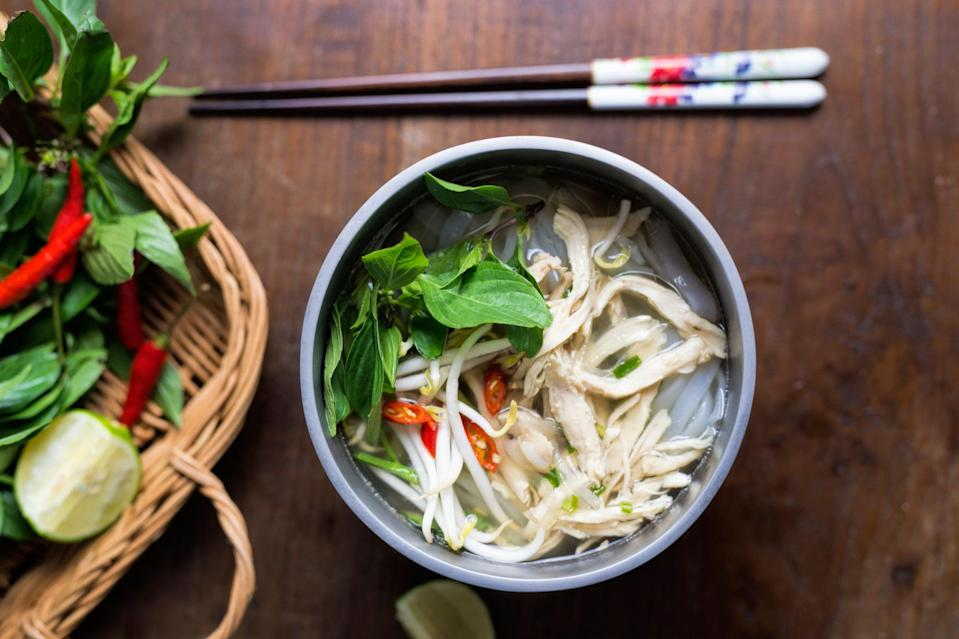 """Use your <a href=""""https://www.epicurious.com/expert-advice/instant-pot-buying-guide-pressure-cooker-slow-cooker-article?mbid=synd_yahoo_rss"""" rel=""""nofollow noopener"""" target=""""_blank"""" data-ylk=""""slk:Instant Pot"""" class=""""link rapid-noclick-resp"""">Instant Pot</a> to get as much flavor as possible into this quick version of the classic Vietnamese chicken soup. <a href=""""https://www.epicurious.com/recipes/food/views/instant-pot-vietnamese-chicken-noodle-soup-pho-ga?mbid=synd_yahoo_rss"""" rel=""""nofollow noopener"""" target=""""_blank"""" data-ylk=""""slk:See recipe."""" class=""""link rapid-noclick-resp"""">See recipe.</a>"""