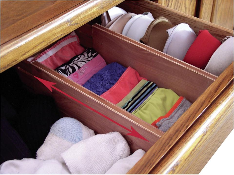 "<p>Finally get your dresser in order with the <a href=""https://www.popsugar.com/buy/Dorothy-Cedar-Expandable-Bedroom-Drawer-Organizer-581581?p_name=Dorothy%20Cedar%20Expandable%20Bedroom%20Drawer%20Organizer&retailer=wayfair.com&pid=581581&price=56&evar1=casa%3Aus&evar9=46502982&evar98=https%3A%2F%2Fwww.popsugar.com%2Fphoto-gallery%2F46502982%2Fimage%2F47545980%2FDorothy-Cedar-Expandable-Bedroom-Drawer-Organizer&list1=shopping%2Cfurniture%2Corganization%2Cbedrooms%2Csmall%20space%20living%2Chome%20organization&prop13=api&pdata=1"" class=""link rapid-noclick-resp"" rel=""nofollow noopener"" target=""_blank"" data-ylk=""slk:Dorothy Cedar Expandable Bedroom Drawer Organizer"">Dorothy Cedar Expandable Bedroom Drawer Organizer</a> ($56).</p>"