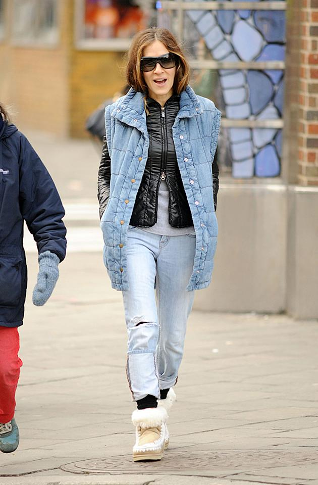 SCRUFF AND THE CITY! The usually stylish Sarah Jessica Parker steps out in an unusual double denim ensemble with one turn-up on her jeans longer than the other while taking son James to school in New York City