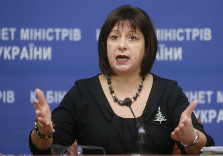 Ukraine's Finance Minister Yaresko speaks during a news conference in Kiev