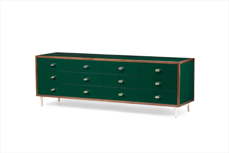 """<p><strong>JL:</strong> My first instinct is to place this as a credenza in an executive's office. The storage is divine. </p><p><strong>JH:</strong> I imagine it in a dark room with a cinnamon-colored, flannel-upholstered wall to allow this piece to shine. </p><p><em>84"""" w. x 24"""" d. x 28"""" h.; $15,385. <a href=""""https://www.thefutureperfect.com/"""" rel=""""nofollow noopener"""" target=""""_blank"""" data-ylk=""""slk:thefutureperfect.com"""" class=""""link rapid-noclick-resp"""">thefutureperfect.com</a></em></p>"""
