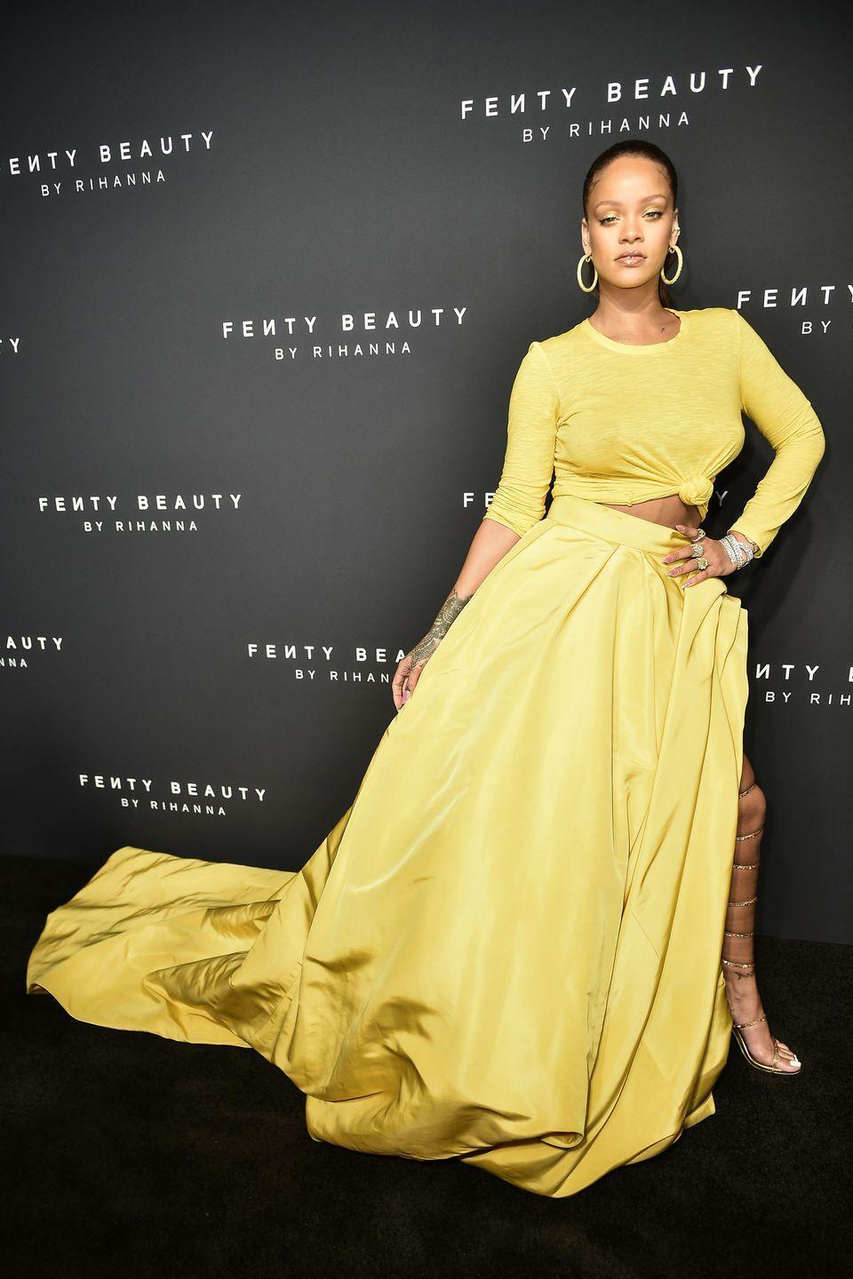 <p>In custom Oscar de la Renta, Chopard jewels and René Caovilla shoes at the Fenty Beauty launch in NYC.</p>