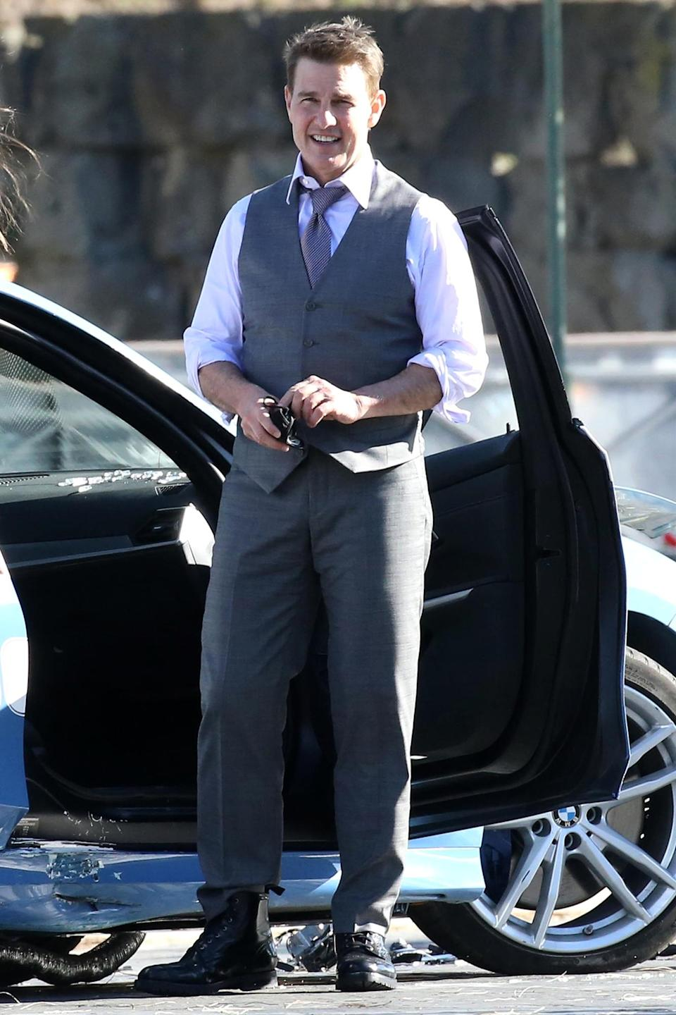 <p>Tom Cruise and his costar Hayley Atwell were seen filming <em>Mission Impossible 7</em> in Rome, Italy.</p>