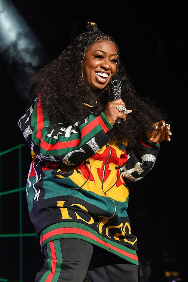 Missy performed at the Essence Festival in 2018 in a glam Gucci printed sweatshirt and matching sweatpants, and accessorized the look with statement rings and major lashes.