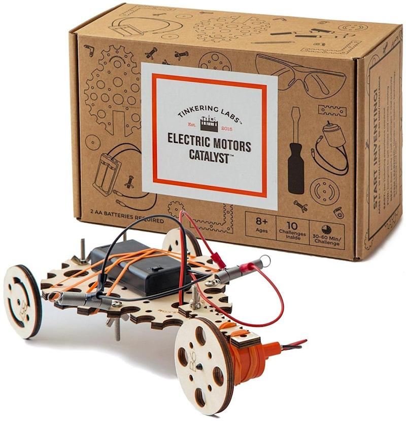 """The possibilities are endless with this <a href=""""https://www.amazon.com/Tinkering-Labs-Electric-Motors-Catalyst/dp/B01M5GJFQ1"""" target=""""_blank"""">design driven toy</a> that comes withmotors, various shapes, and multiple connectors."""