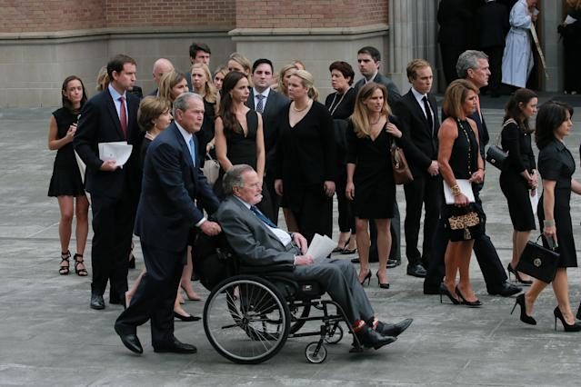 <p>Former President George H.W. Bush attends the funeral service for his wife, former first lady Barbara Bush, with his son the 43rd U.S. President George W. Bush at St. Martin's Episcopal Church in Houston, Texas, April 21, 2018. (Photo: Richard Carson/Reuters) </p>