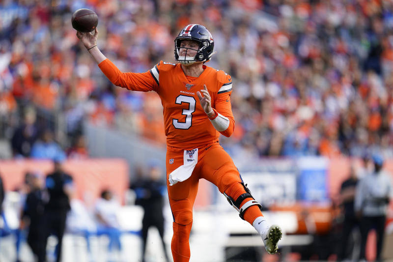 Denver Broncos quarterback Drew Lock (3) throws against the Detroit Lions during the first half of an NFL football game, Sunday, Dec. 22, 2019, in Denver. (AP Photo/Jack Dempsey)