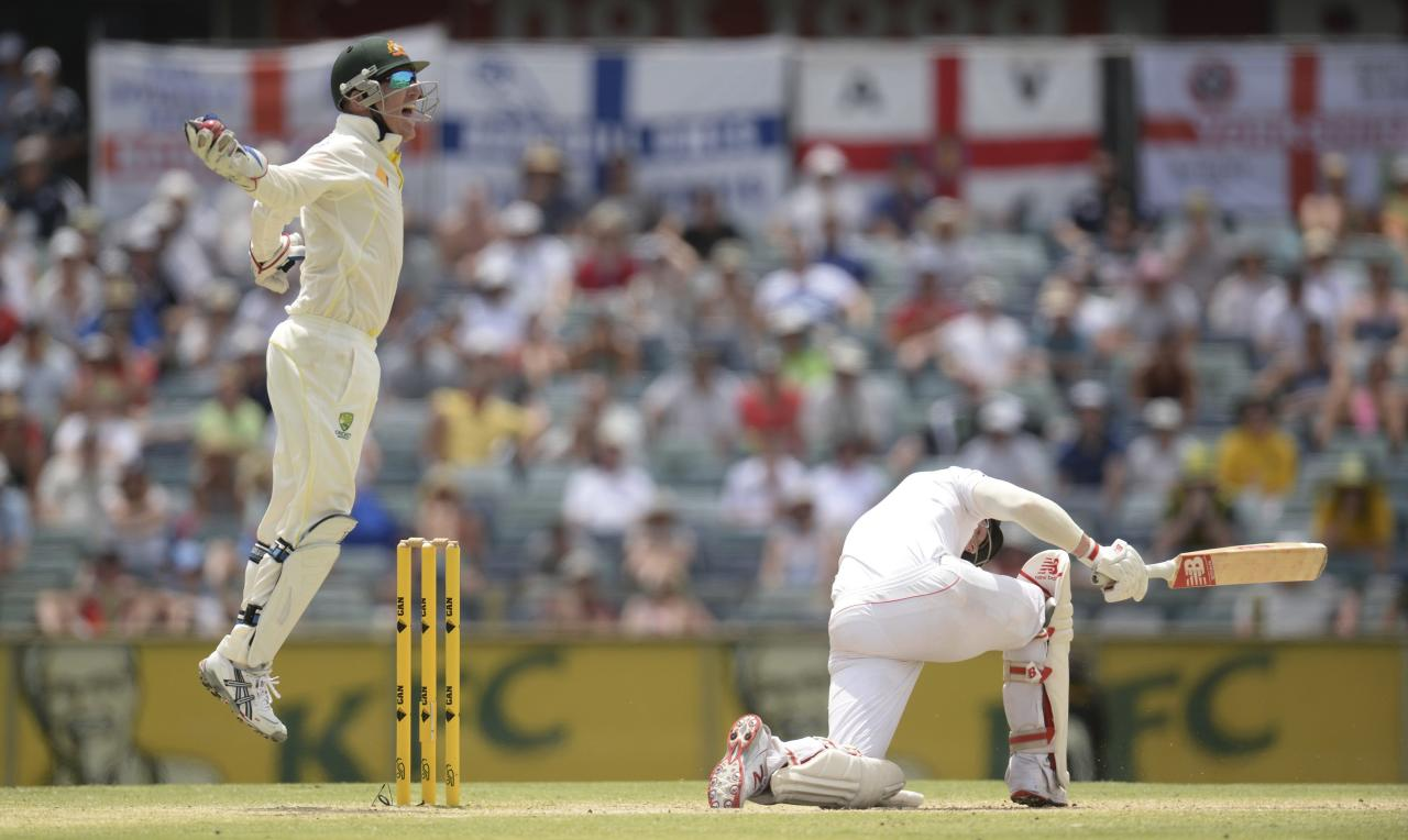 Australia's Brad Haddin (L) leaps as he celebrates the dismissal of England's Ben Stokes during the fifth and final day of the third Ashes test cricket match at the WACA ground in Perth December 17, 2013. REUTERS/Philip Brown (AUSTRALIA - Tags: SPORT CRICKET)