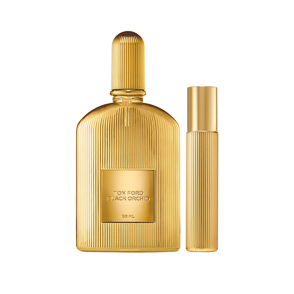 """Featuring notes of black plum, black orchid (obviously), rum, black truffle, patchouli, and ylang-ylang flowers, Tom Ford's Black Orchid – a bold <a href=""""https://www.allure.com/gallery/best-unisex-fragrances?mbid=synd_yahoo_rss"""" rel=""""nofollow noopener"""" target=""""_blank"""" data-ylk=""""slk:unisex scent"""" class=""""link rapid-noclick-resp"""">unisex scent</a> wrapped up in a gilded, fluted bottle – is truly one of a kind. One <em>Allure</em> staffer <a href=""""https://www.allure.com/review/tom-ford-black-orchid-perfume?mbid=synd_yahoo_rss"""" rel=""""nofollow noopener"""" target=""""_blank"""" data-ylk=""""slk:previously described"""" class=""""link rapid-noclick-resp"""">previously described</a> it as """"a sensual cross between a warm, creamy flambé dessert and a bouquet of exotic flowers."""" This limited-edition Tom Ford Black Orchid Parfum Set includes one full-sized perfume bottle and one travel-sized atomizer for quick spritzes whenever you need it. $225, Nordstrom. <a href=""""https://www.nordstrom.com/s/tom-ford-black-orchid-parfum-set-225-value/5918637"""" rel=""""nofollow noopener"""" target=""""_blank"""" data-ylk=""""slk:Get it now!"""" class=""""link rapid-noclick-resp"""">Get it now!</a>"""
