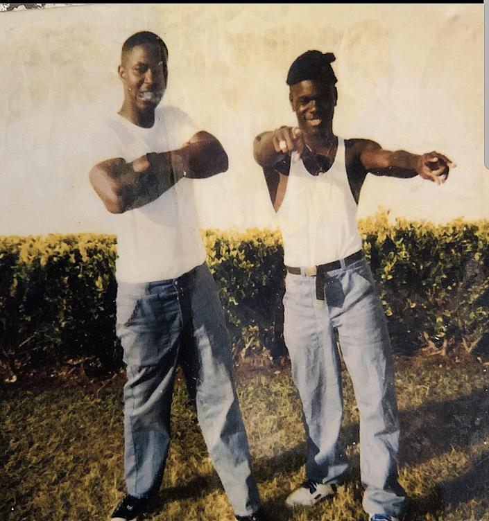 Ian Manuel (right) and another young man at Apalachee Correctional Institution, 1991.