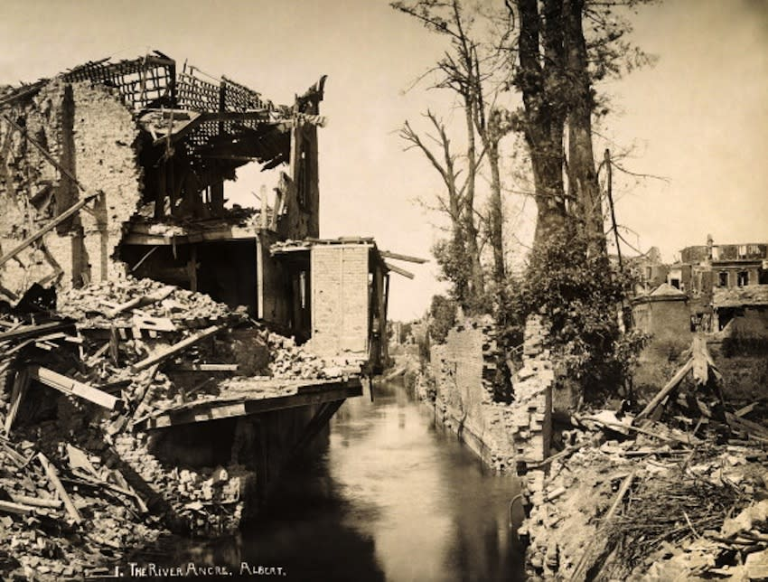 A view of the the River Ancre in the town of Albert, in France, photographed soon after the end of World War One, circa March 1919. This image is from a series documenting the damage and devastation that was caused to towns and villages along the Western Front in France and Belgium during the First World War. (Photo by Popperfoto/Getty Images)