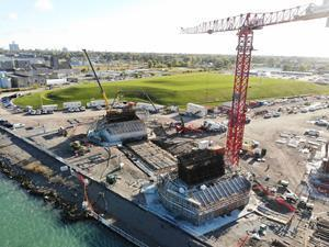 On the Canada site in Windsor, Ontario, Aluma Systems by BrandSafway is providing formwork, falsework, stair towers and access platforms to support the concrete pours for the main pylon footings on the Gordie Howe Bridge for the Windsor Detroit Bridge Authority. #WDBA