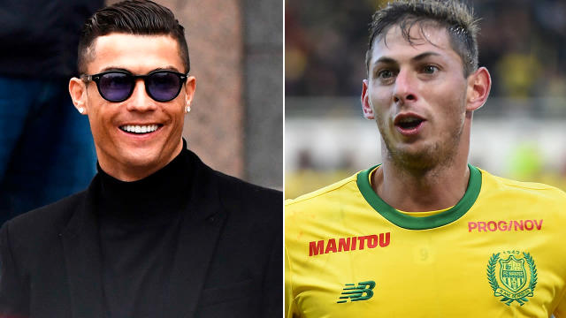 Cristiano Ronaldo and Emiliano Sala. Image: Getty