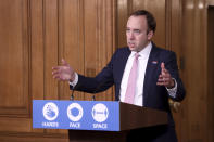 Britain's Health Secretary Matt Hancock speaks during a media briefing on coronavirus in Downing Street, London, Friday, Nov. 20, 2020. (Trevor Adams/Pool Photo via AP)