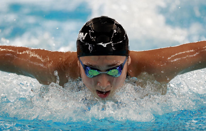 Japan's Rikako Ikee swims in her heat of the women's 100m butterfly during the swimming competition at the 18th Asian Games in Jakarta, Indonesia, Tuesday, Aug. 21, 2018. (AP Photo/Bernat Armangue)