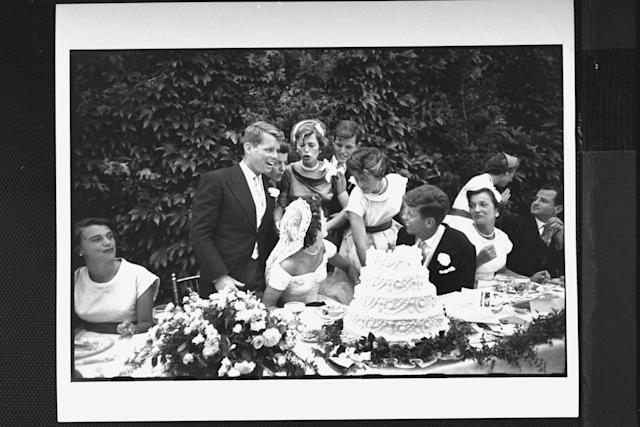Sen. John F. Kennedy with his bride Jacqueline at their wedding reception. (Photo by Lisa Larsen//Time Life Pictures/Getty Images)
