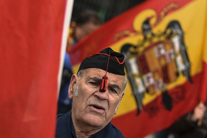 A supporter of Spanish dictator Francisco Franco at a demonstration marking the 40th anniversary of his death on November 22, 2015 in Madrid