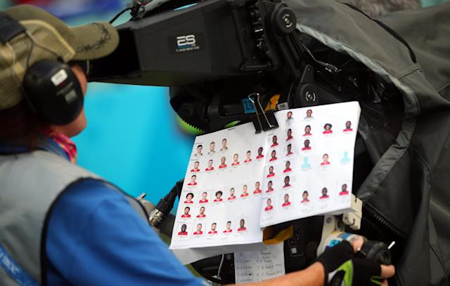 A camerawoman attaches a Belgium team ID sheet to her camera ahead of the Belgium vs Panama match at the Fisht Stadium, Sochi, Russia, June 18, 2018. As well as shooting all the matches, Reuters photographers are producing pictures showing their own quirky view from the sidelines of the World Cup. REUTERS/Hannah McKay