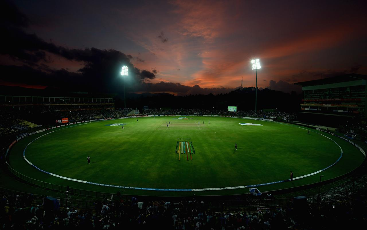 KANDY, SRI LANKA - SEPTEMBER 29:  The sun sets during the ICC World Twenty20 2012 Super Eights Group 1 match between England and New Zealand at Pallekele Cricket Stadium on September 29, 2012 in Kandy, Sri Lanka.  (Photo by Gareth Copley/Getty Images,)