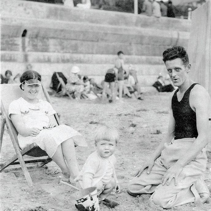 Parkinson with his mother Freda and father John William in 1938 - Parkinson Productions