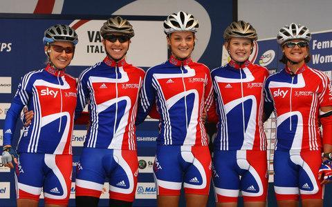 <span>Sharon Laws (far right) with the UCI Road World Championships Great Britain team</span> <span>Credit: Getty Images </span>