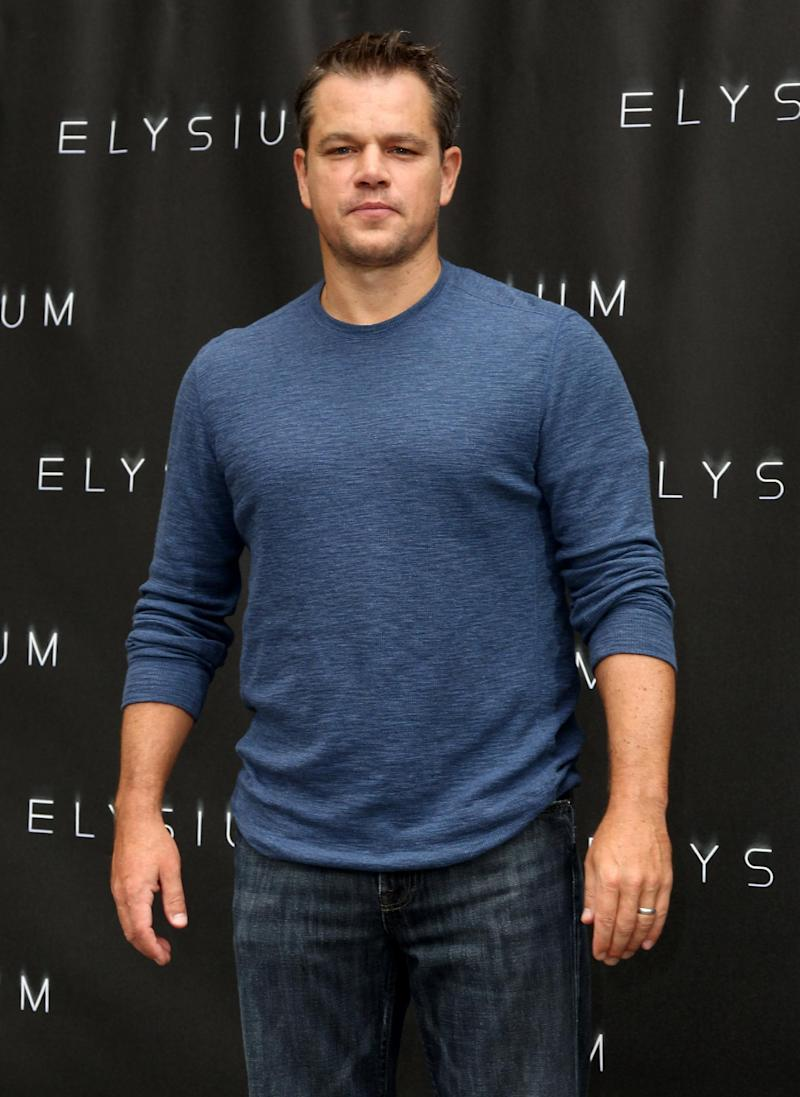 """FILE - In this Aug. 2, 2013 file photo, Matt Damon attends a photo call for """"Elysium"""" at the Four Seasons, in Los Angeles. The Environmental Media Association is honoring Damon and Hayden Panettiere for their dedication to ecological causes. The organization announced Monday, Aug. 26, 2013, that the two actors will be honored at its 23rd annual Environmental Media Awards event presented by Toyota this fall. (Photo by Matt Sayles/Invision/AP, File)"""