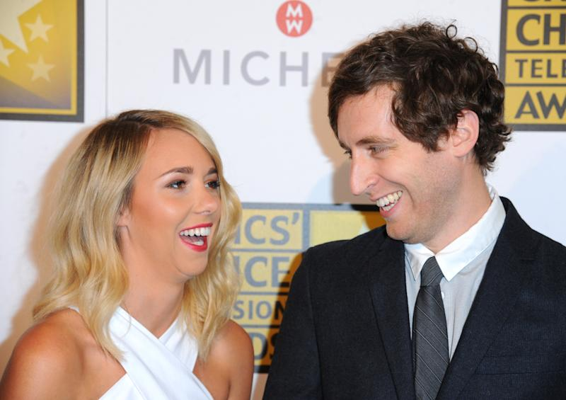 Mollie Gates, left, and Thomas Middleditch arrive at the Critics' Choice Television Awards at the Beverly Hilton Hotel on Thursday, June 19, 2014, in Beverly Hills, Calif. (Photo by Richard Shotwell/Invision/AP)