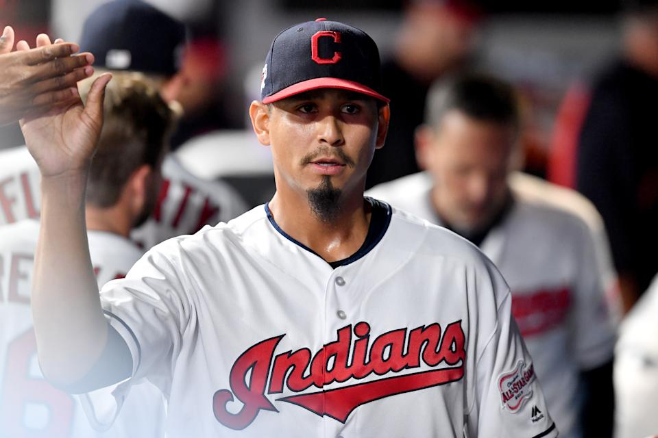 CLEVELAND, OHIO - SEPTEMBER 14: Carlos Carrasco #59 of the Cleveland Indians celebrates after pitching during the sixth inning of a double header against the Minnesota Twins of the second game at Progressive Field on September 14, 2019 in Cleveland, Ohio. (Photo by Jason Miller/Getty Images)