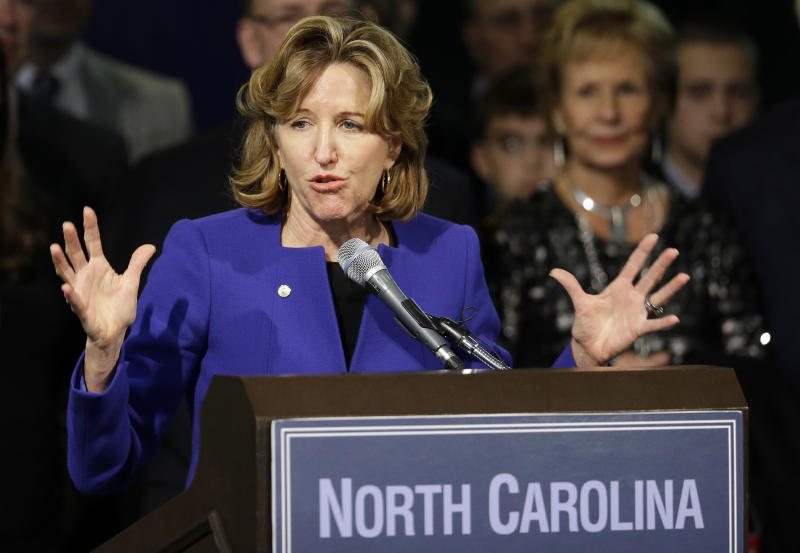 FILE - In this Nov. 4, 2014 file photo, Sen. Kay Hagan, D-N.C., gives her concession speech during an election night rally in Greensboro, N.C. Family and friends gathered Sunday, Nov. 3, 2019, for a memorial service for Hagan, who died Monday, Oct. 28 of a rare virus, at the age of 66. (AP Photo/Gerry Broome, File)