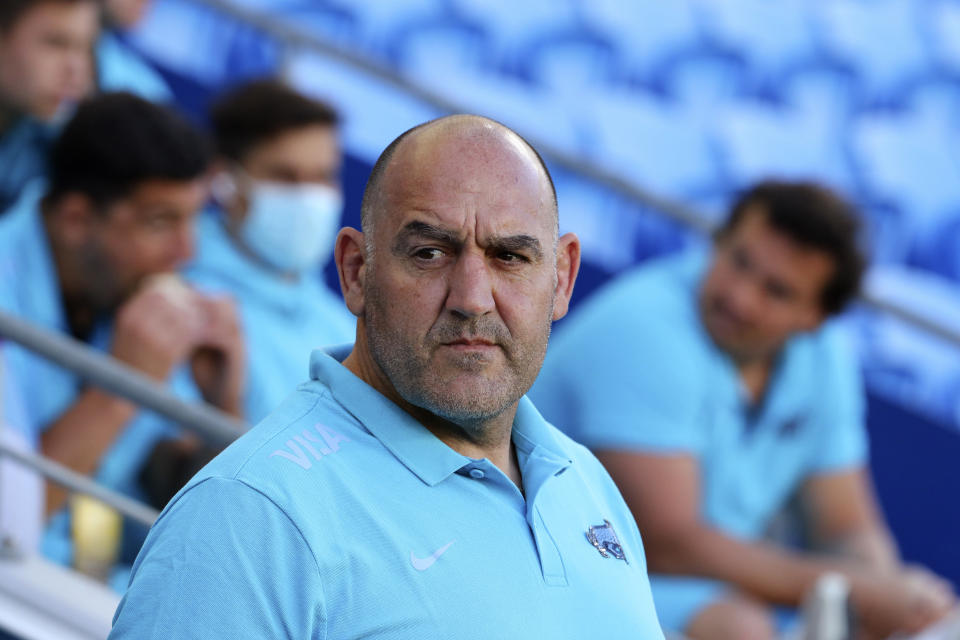 Argentina's head coach Mario Ledesma washes his team prepare to take on New Zealand in their Rugby Championship match on Sunday, Sept. 12, 2021, on the Gold Coast, Australia. (AP Photo/Tertuis Pickard)