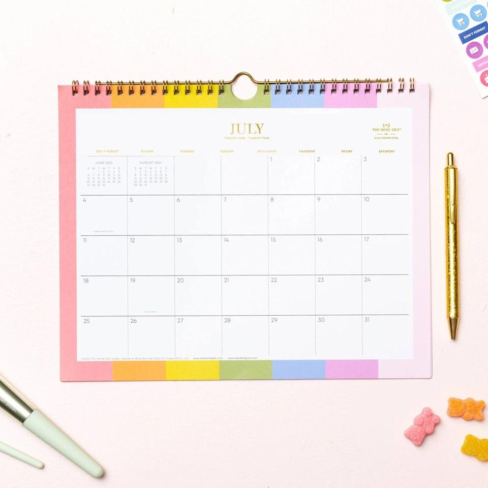 <p>They'll hang this <span>The Home Edit 2021-22 Academic Wall Calendar in Over the Rainbow</span> ($7) right above their desk so they can keep track of all their important due dates. It even comes with a pack of stickers for all their planning and customization needs.</p>