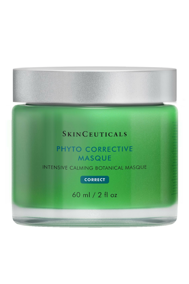 "<p>Goes on cool and calms irritation with thyme and cucumber. ($55; <a rel=""nofollow"" href=""https://www.skinceuticals.com/phyto-corrective-masque-3606000436640.html"">skinceuticals.com</a>)</p>"