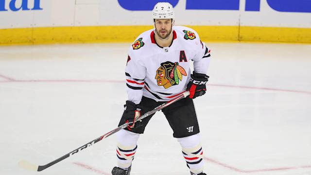Chicago Blackhawks defenceman Brent Seabrook is out for the year after undergoing shoulder surgery. (Rich Graessle/Icon Sportswire via Getty Images)