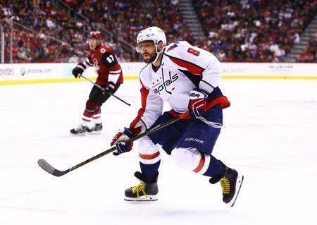 Mar 31, 2017; Glendale, AZ, USA; Washington Capitals left wing Alex Ovechkin (8) against the Arizona Coyotes in the third period at Gila River Arena. The Coyotes defeated the Capitals 6-3. Mandatory Credit: Mark J. Rebilas-USA TODAY Sports