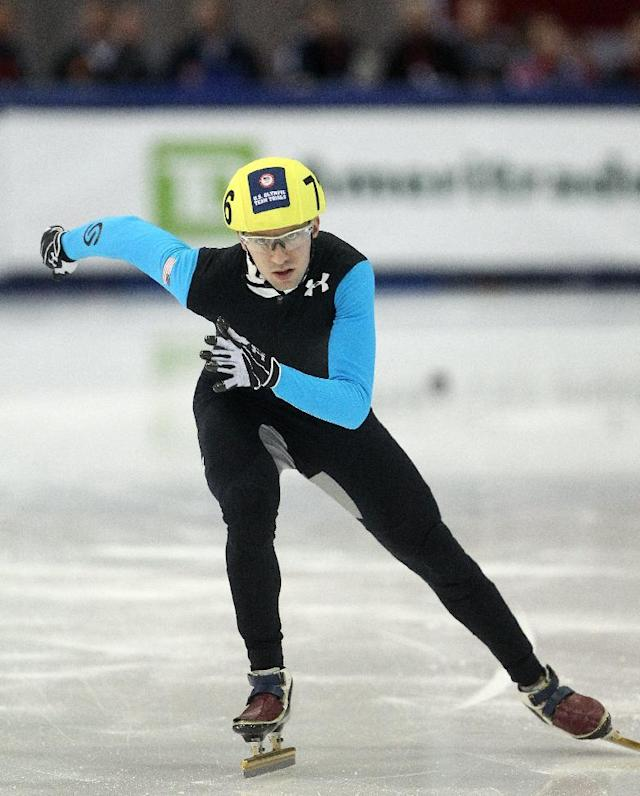 Chris Creveling competes in the men's 1,000 meters during the U.S. Olympic short track speedskating trials on Sunday, Jan. 5, 2014, in Kearns, Utah. (AP Photo/Rick Bowmer)
