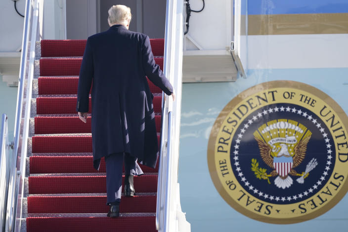 President Donald Trump boards Air Force One at Andrews Air Force Base, Md., for a trip to Alamo, Texas, Tuesday, Jan. 12, 2021. (AP Photo/Manuel Balce Ceneta)