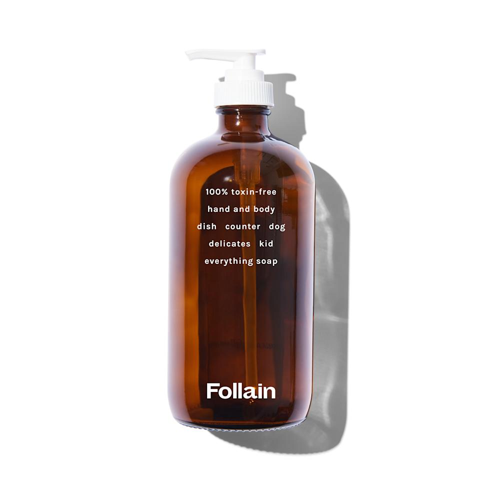 "<h2>Follain Refillable Everything Soap<br></h2><br>Use it H2T, on Fido, or even as a mild dish and laundry detergent: Follain's refillable liquid soap is gentle on skin, but tough on everything else. ""It was important to launch our business with this, so long ago - at a time when people weren't really considering clean ingredients as much as they are today,"" Foley says. ""Liquid soap is the fastest-moving personal care product because <em>everyone</em> uses it, and we all use it many times throughout the day."" Follain's Everything Soap is available in two invigorating scents — Lavender and Lemongrass — and if you go to the store, you can combine the two for a mind-blowing result.<br><br><strong>Follain</strong> Refillable Everything Soap, $, available at <a href=""https://go.skimresources.com/?id=30283X879131&url=https%3A%2F%2Ffollain.com%2Fproducts%2Ffollain-refillable-hand-body-soap-pre-filled"" rel=""nofollow noopener"" target=""_blank"" data-ylk=""slk:Follain"" class=""link rapid-noclick-resp"">Follain</a>"