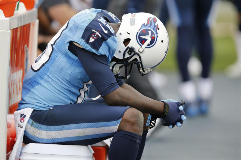 Tennessee Titans wide receiver Kendall Wright sits on the bench in the final minutes of the fourth quarter of an NFL football game against the Houston Texans on Sunday, Dec. 2, 2012, in Nashville, Tenn. The Texans won 24-10. With the win, the Texans clinched their second straight playoff berth, a franchise-record 11th win this season, and their first season sweep of The Titans. (AP Photo/Joe Howell)