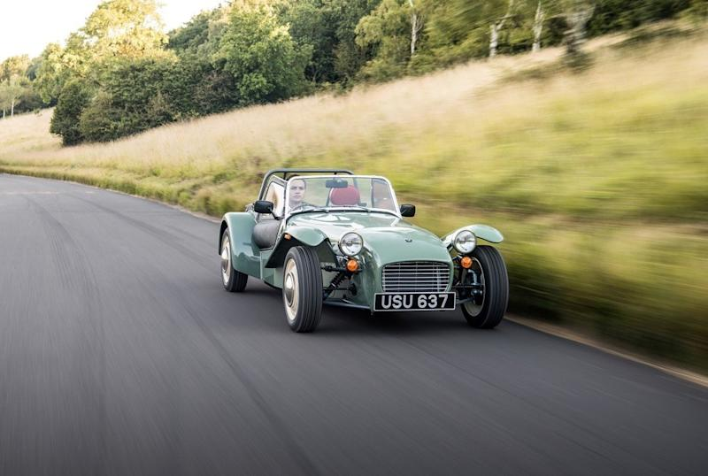 Caterham's 1960s-themed Seven has us humming along with The Beatles