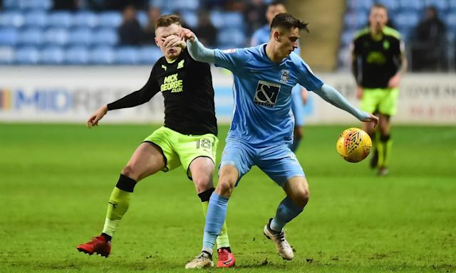 Tom Bayliss (right) is likely to be one of eight graduates of the Coventry academy in the squad that travels to Brighton for the FA Cup.