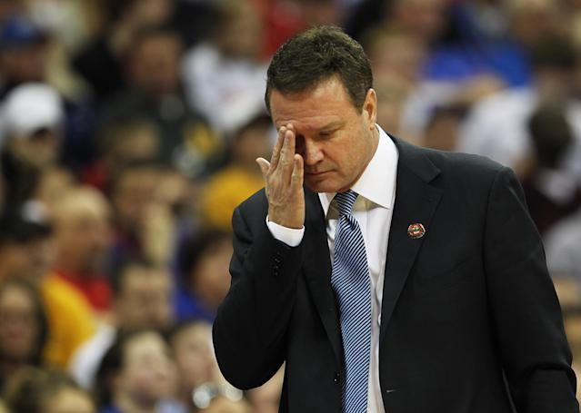 KANSAS CITY, MO - MARCH 09: Head coach Bill Self of the Kansas Jayhawks reacts during the second half against the Baylor Bears during the semifinals of the 2012 Big 12 Men's Basketball Tournament at Sprint Center on March 9, 2012 in Kansas City, Missouri. (Photo by Jamie Squire/Getty Images)