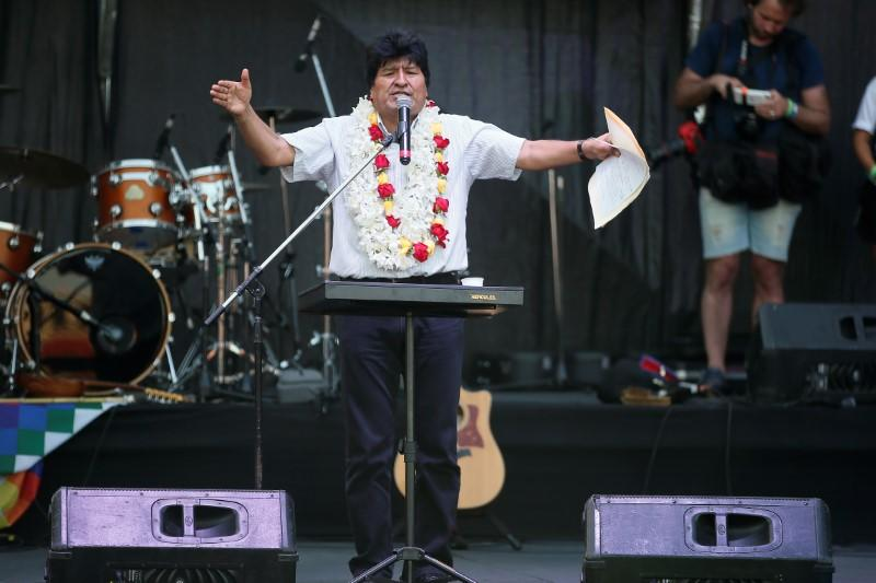 Former Bolivian leader Morales holds rally in Argentina marking end of term