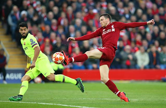 Andrew Robertson of Liverpool cuts out a pass to Luis Suarez of Barcelona during the UEFA Champions League Semi Final second leg match between Liverpool and Barcelona at Anfield on May 07, 2019 in Liverpool, England. (Photo by Alex Livesey - Danehouse/Getty Images)