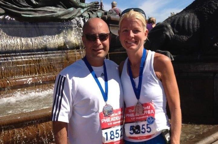 Dr. Perre with his wife Stacy after the Philadelphia Rock 'n' Roll half marathon in 2015.